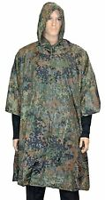 Flecktarn Camo EMERGENCY PONCHO - Ripstop Waterproof Rain Cape One Size Fits All