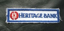 HERITAGE BANK EMBROIDERED SEW ON PATCH COMPANY ADVERTISING UNIFORM BADGE
