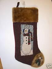Faux Fur Snowman Christmas Stocking Decoration