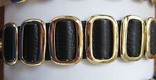 New Black Leather Snap closure Rocker Bracelet Wrist Band cuff gold