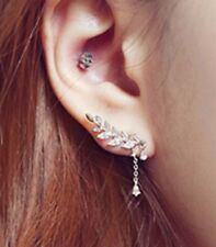 Silver Plated Ear Cuff Clip Earrings Sweep Wrap Branch Leaf Climber Rings ECF04