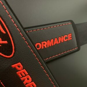 Seat Belt Shoulder Pads Cover with black & red embroidery Fit to Ford 2pcs