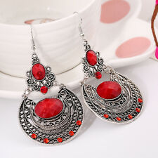 New Fashion Bohemia Retro Style Silver Plated Red Crystal Dangling Earrings