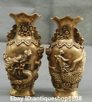 "8"" Marked Chinese Bronze Dragon Phoenix Bird Auspicious Lotus Bottle Vase Pair"
