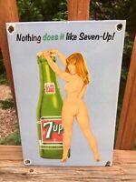 "Vintage 7 Up Soda Heavy Porcelain Advertising Sign Coca Cola 12""x8"""