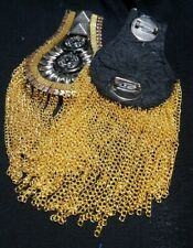Gold Epaulettes Metal Shoulder Tassels Steampunk, Vintage Military Costume, Band