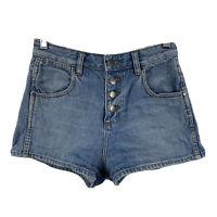 Wrangler Womens Denim Shorts Size 8 Blue Hourglass Button Fly