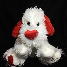 "Walmart Red White Heart XOXO Puppy Dog Plush Valentines Soft Toy 10"""