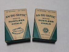 Vtg  An-Du-Septic Dustless White Chalk Lot of 2 Full 12 Stick Boxes 4 Broken