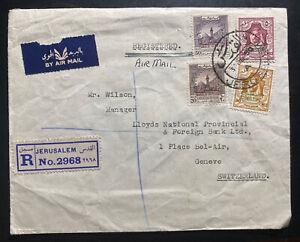 1950 Jerusalem Palestine Trans Jordan Airmail Cover To Geneva Switzerland