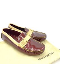 Louis Vuitton Lombok Burgundy Patent Leather Moccasins Loafers Women Size 38 8US