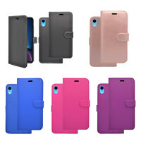 For Apple iPhone XR Plain Wallet Book flip PU Leather Cover Case
