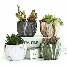Marbling Flower Pot Ceramic Succulent Planter Pots with Hole For Garden Set of 4