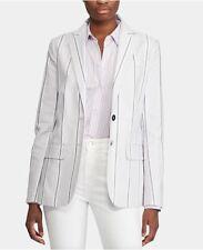 Ralph Lauren Womens 16 Canvas Stripe Print Blazer Purple Ladrell Jacket