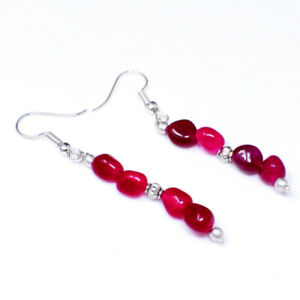 Real 20.00 Cts Earth Mined Red Ruby Oval Shape Beads Handmade Designer Earrings
