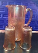 Carnival Glass Tree Bark Pitcher Tumblers Autumn Harvest Fall Thanksgiving Decor
