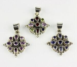 Amethyst, Iolite, Multi Color Pendant Real Gems 925 Silver Gift L 45