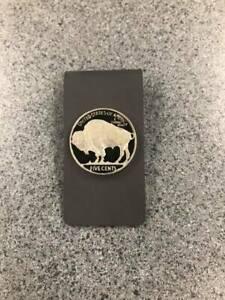 Titanium Money Clip with Hand enameled Buffalo Nickel - Buffalo Side