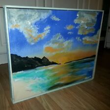 16 x 20 hand framed hand painted tropical vacation painting art Shortiez ink