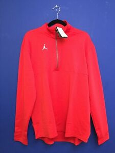 Nike Jordan Red Dri-FIT Team 1/4 Zip Top Men's Pullover Jacket CJ1127 Size Large
