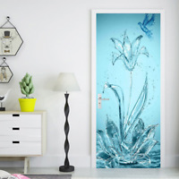 3D Flower Bird Self-adhesive Door Mural Wall Stickers Wallpaper Photo Home Decor