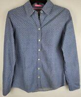Banana Republic Womens Small Blue Anchors Button Down Long Sleeve Oxford Shirt