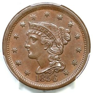 1856 N-3d PCGS MS 63 BN Slanted 5 Braided Hair Large Cent Coin 1c