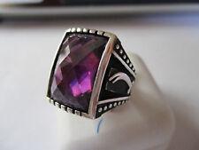 Gorgeous Islamic Sterling Silver Ring Unisex Diamond Cut  Purple Stone size 11