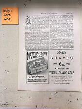 Vinolia Shaving Soap; Myrtle Grove Tobacco: 1894 Black & White Magazine Advert
