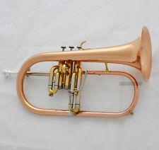 2016 Professional Rose Brass Flugelhorn Bb Horn Monel Valves Abalone Key W/Case