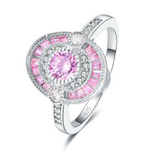 Gorgeous 925 silver Wedding Band Amethyst Pink Topaz Gemstone Ring Size 6 7 8 9
