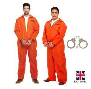 Mens PRISONER COSTUME Orange Overall Jumpsuit Convict Stag Do Fancy Dress Party
