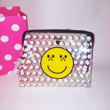Victoria Secret PINK Travel Make Up Bag Clear Polka Dots Smiley Face Logo