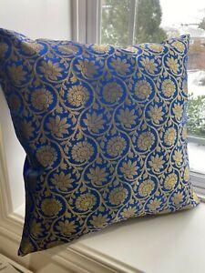 "Pillow cover/ Cushion Cover, Silk, Brocade 18"" Case for 20"" Pillow, Green, Blue"