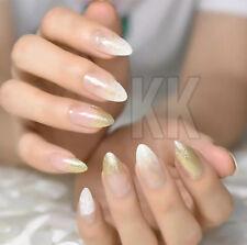 10 design 24 x FALSE fake NAILS medium french airbrushed full nail glittery  uk