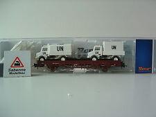 ROCO h0 67498 Rungenwagen con 2 Unimog dell'ONU DB AG OVP m625