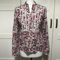 Laura Ashley Size 10 Floral Shirt Cotton Blouse Smart Fitted Long Sleeved