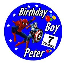BOYS BIRTHDAY BADGE- BIG PERSONALISED BADGE, AGE, NAME.SUPERHERO - NEW / GIFTS