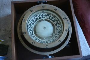 Antique 1870s Ritchie Brass Maritime Ship's Binnacle Liquid Compass In Box