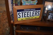 PITTSBURGH STEELERS FRAMED STATE PENNSYLVANIA LICENSE PLATE SIGN  SOLID CEDAR