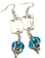 Long Drop Dangle Silver Clear & Turquoise Earrings Glass Beads Pierced
