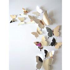 12 x 3D Trend Spiegel Schmetterlinge Sticker Wandtattoo Wandsticker Wanddeko F06