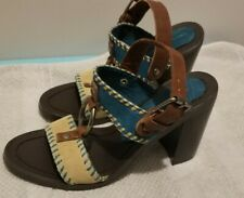 Chinese Laundry Golden Suede Brown Blue Multi Sandals Heels Size 6 New