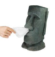 Taschentuchhalter Moai Figur, Taschentuchspender als Steingesicht, Tuchbox