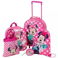 Disney Minnie Mouse 5 Pc Bagaglio Di Viaggio Set Zaino borsette Borsa Trolley