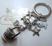 Coach Beach Ocean Multi Mix Key Fob Chain Keychain Charm 92097 RARE