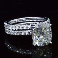 4.00ct Cushion Diamond Engagement Ring & Matching Wedding Band 14K White Gold