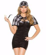 Sexy Sherlock Holmes Halloween Costume Medium M Women Dress Plaid Cape Detective