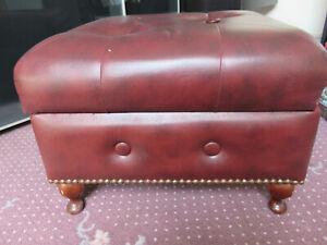 vintage Luxalean buttoned storage footstool Queen Anne feet Rodmill brass studs