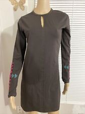 NEW SYNERGY ORGANIC CLOTHING Embroidered Dress Keyhole Front Brown  Women's